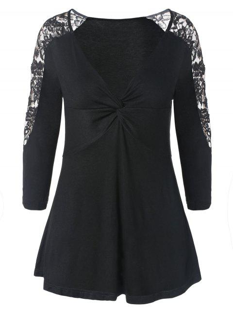 Lace Panel Twist Front Knitwear - BLACK 2XL