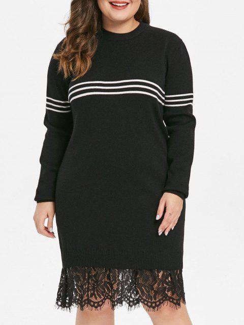 Plus Size Eyelash Lace Panel Round Neck Longline Sweater - BLACK 1X