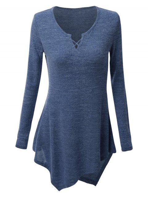 Asymmetric Criss-cross Tee - DEEP BLUE 2XL