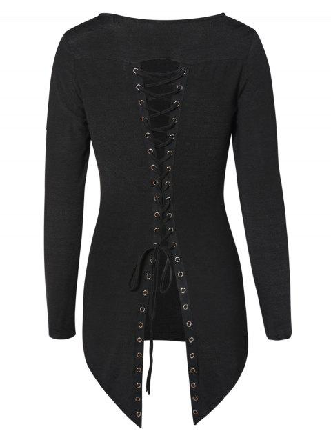 Lace Up Back High Low Pullover Knitwear - BLACK XL