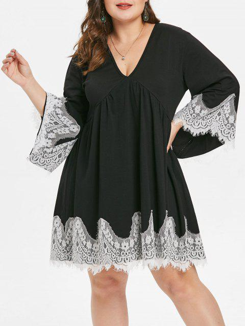 Plus Size Plunge Eyelash Lace Panel Shift Dress