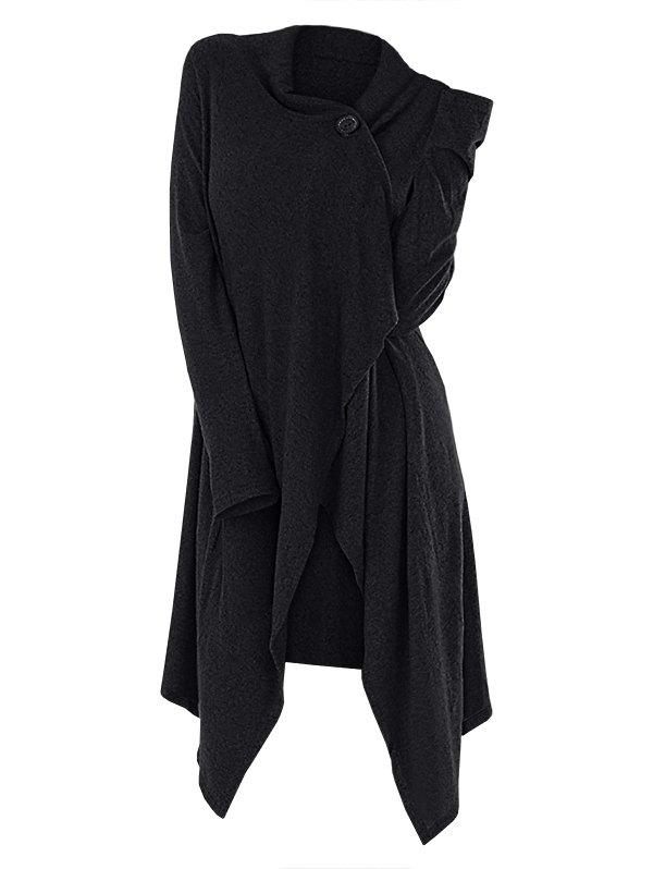 One Button Asymmetrical Long Cardigan - BLACK S