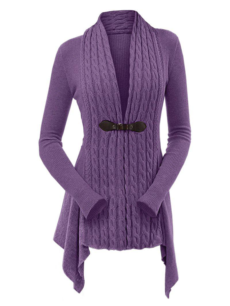 Cable Knit Buckle Asymmetrical Cardigan - DULL PURPLE L