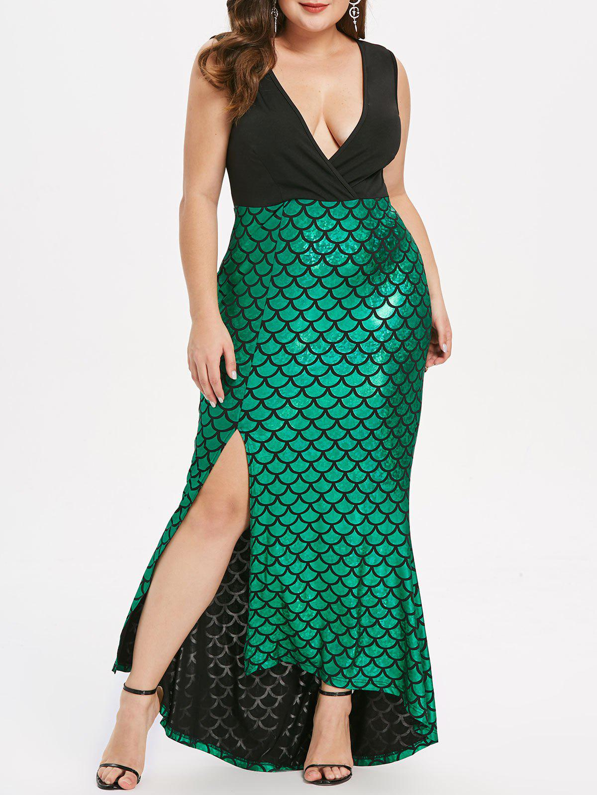 Plus Size Fish Scale Asymmetric Slit Surplice Dress - DEEP GREEN 2X