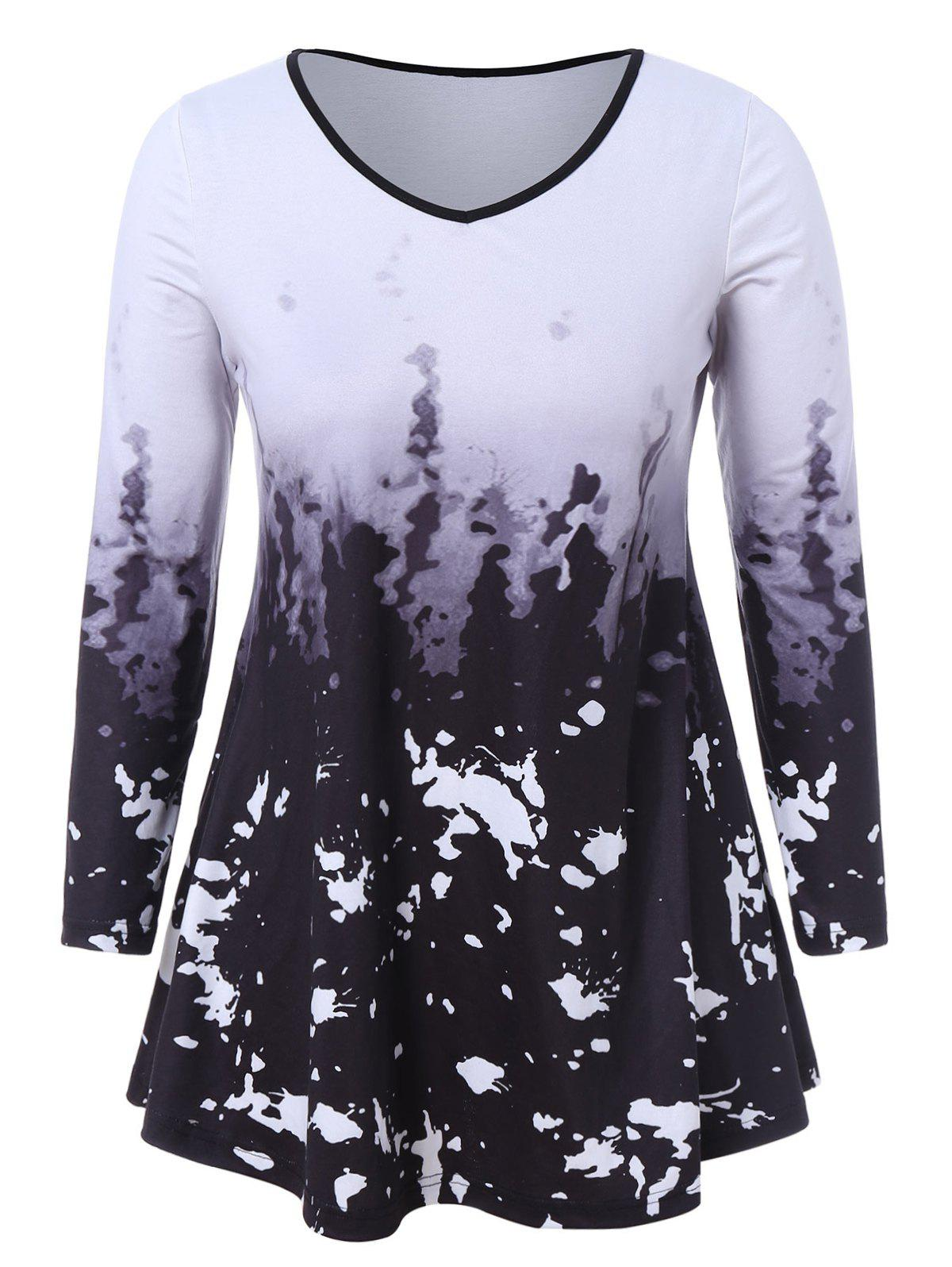 Plus Size Ombre Printed T Shirt