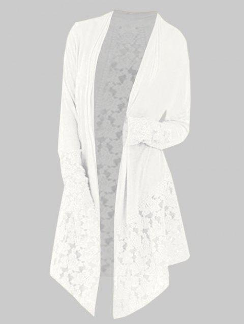 Lace Panel Plus Size Open Front Cardigan - WHITE 5X
