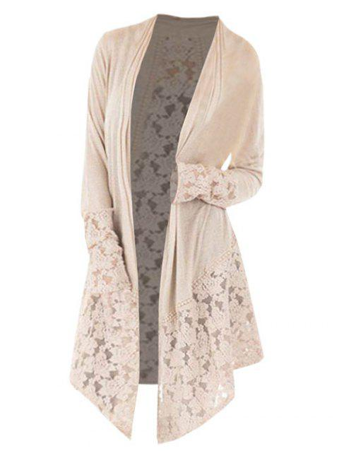 Lace Panel Plus Size Open Front Cardigan - LIGHT KHAKI 5X