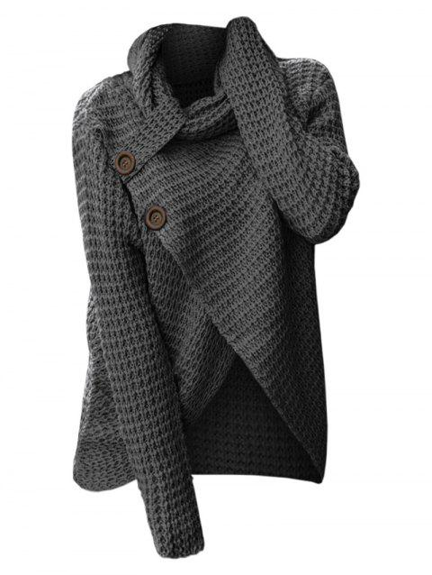 Cowl Neck Knit High Low Sweater - DARK GRAY S