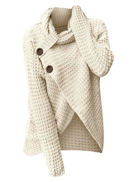 Cowl Neck Knit High Low Sweater - WARM WHITE M