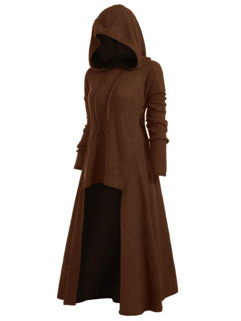 Hooded Plus Size High Low Sweater - COFFEE 3X