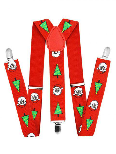 Christmas Printed Y-shape Adjustable Strap Belt - RED