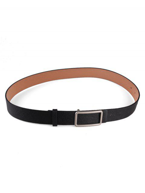 Square Buckle Faux Leather Belt - BLACK