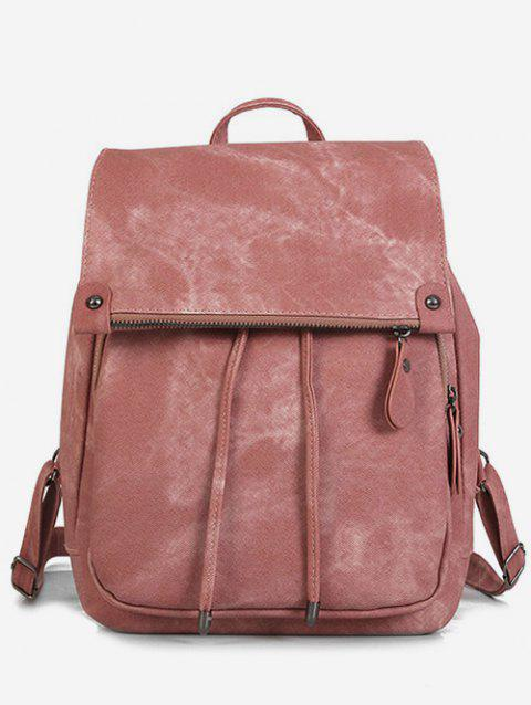 Top Handle Drawstring PU Backpack - PINK