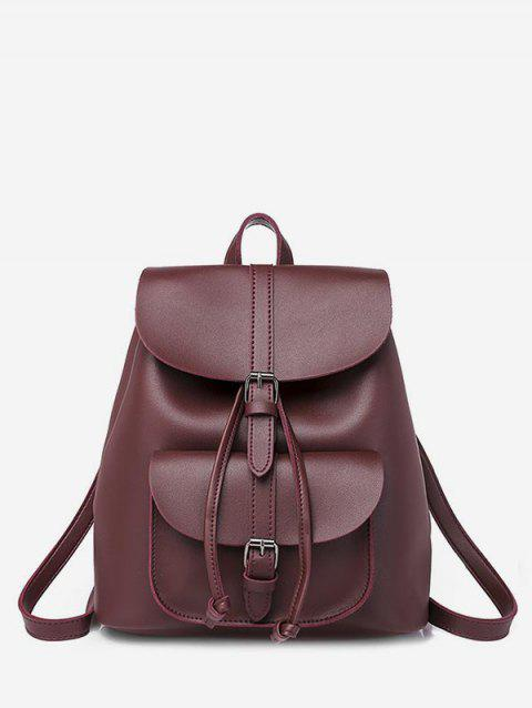 Buckle Strap Drawstring PU Leather Backpack - RED WINE