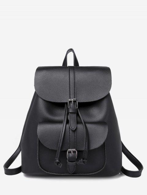 Buckle Strap Drawstring PU Leather Backpack - BLACK
