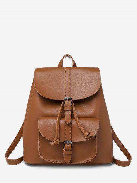 Buckle Strap Drawstring PU Leather Backpack - BROWN