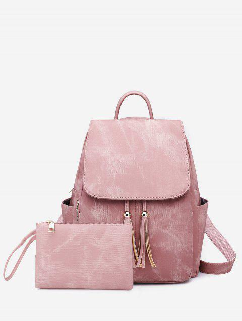2 Piece Tassel Decorative Backpack Set - PINK