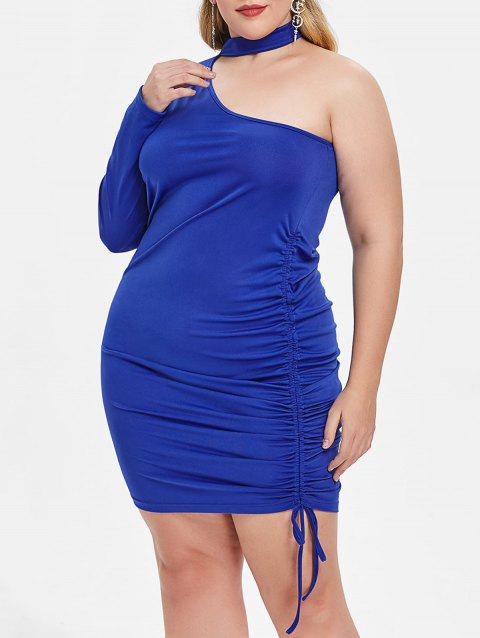 Plus Size One Shoulder Side Pleat Bodycon Dress
