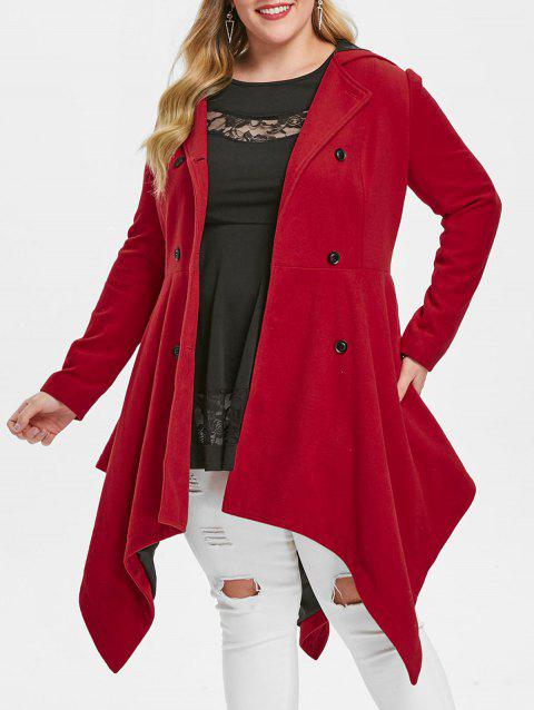 Plus Size Hooded Double Breasted Handkerchief Coat - RED 1X