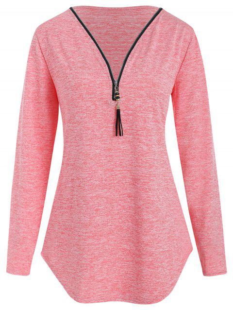 Tassel Zip Front Plain T Shirt - LIGHT PINK M