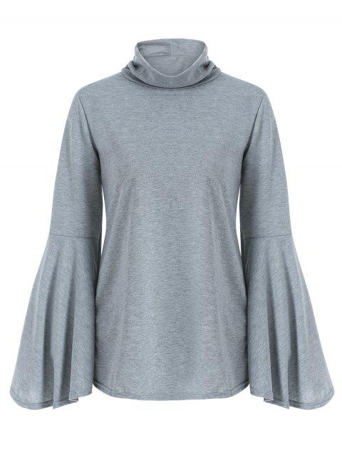 High Neck Bell Sleeve Back Slit T Shirt - LIGHT GRAY M