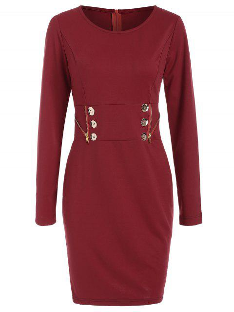 Long Sleeve Zipper Mini Dress - RED WINE XL