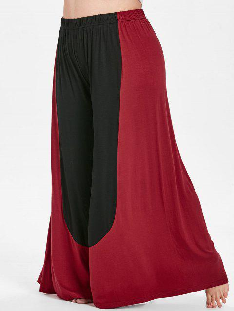 Plus Size Color Block Wide Leg Pants - multicolor 2X