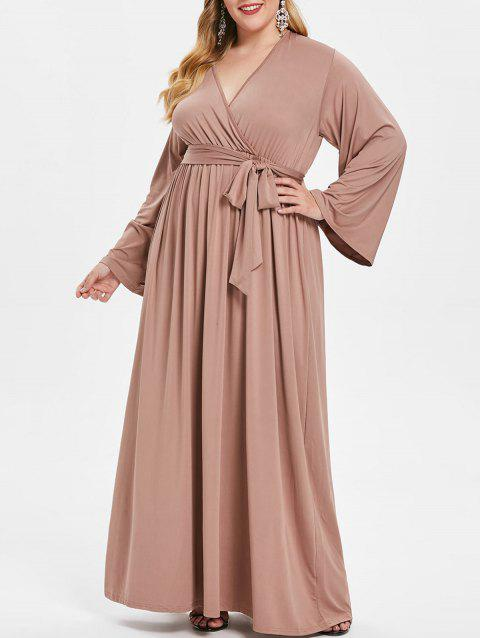 Plus Size Surplice Neck Long Sleeve Maxi Dress with Belt - ROSY BROWN L