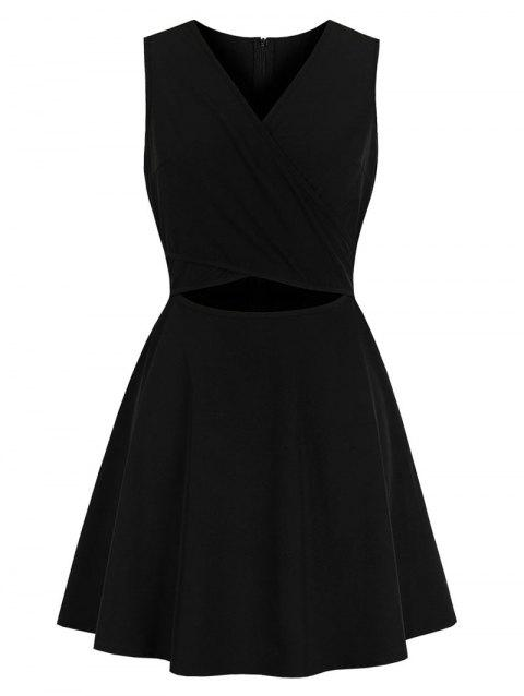 Vintage Cut Out Criss Cross Mini Flare Dress - BLACK M