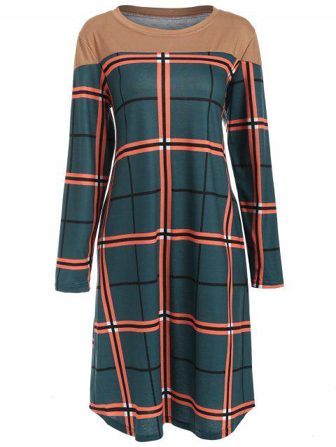Checked Long Sleeve Casual Dress - CADETBLUE M