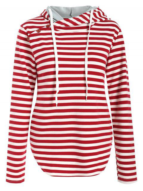 Long Sleeve Striped Drawstring Hoodie - LAVA RED M