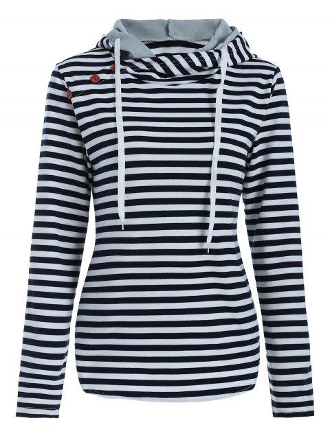 Long Sleeve Striped Drawstring Hoodie - CADETBLUE XL