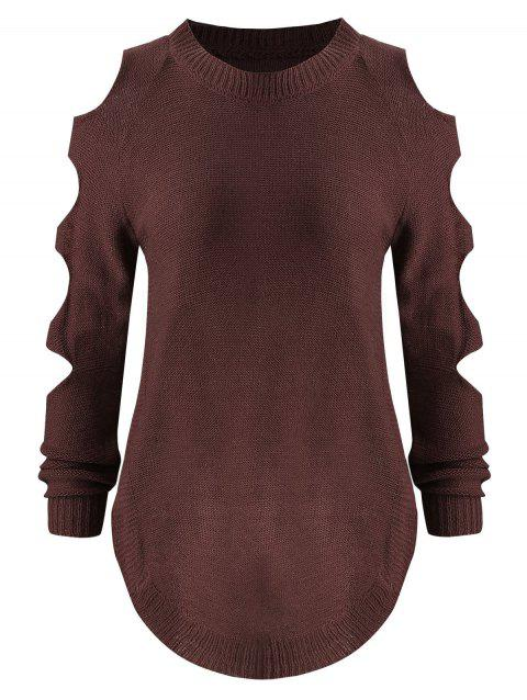 Asymmetric Side Slit Distressed Sweater - FIREBRICK S