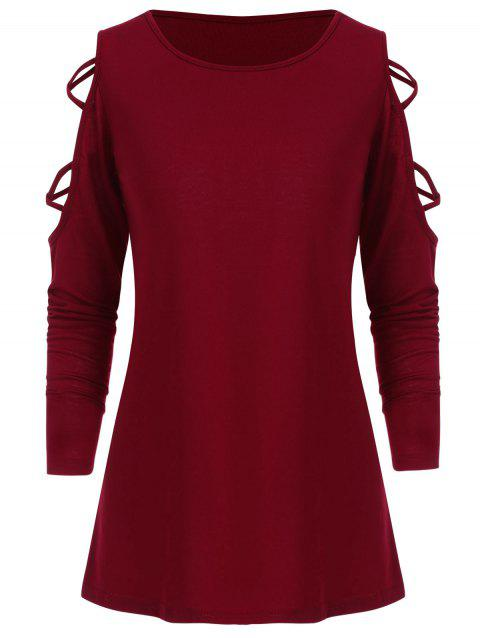 6f3b37eb6be 41% OFF] 2019 Criss Cross Long Sleeve Top In LAVA RED   DressLily