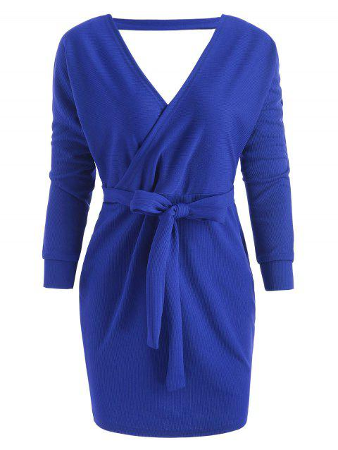 Belted Cut Out Surplice Dress - COBALT BLUE M