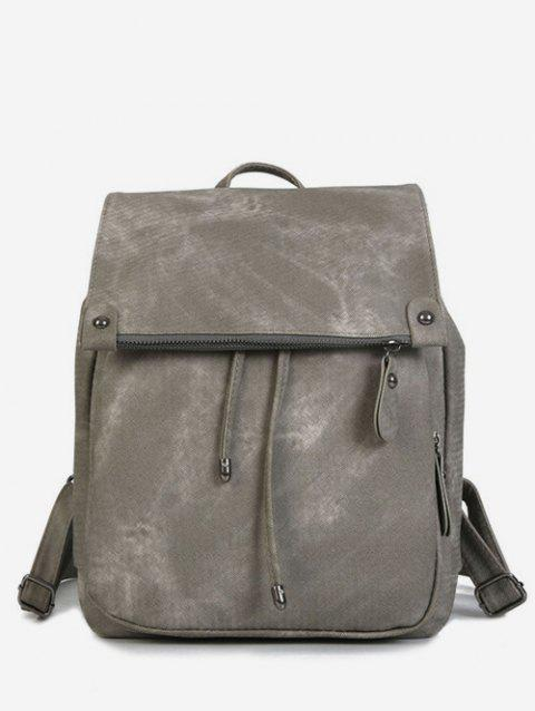 Top Handle Drawstring PU Backpack - GRAY CLOUD