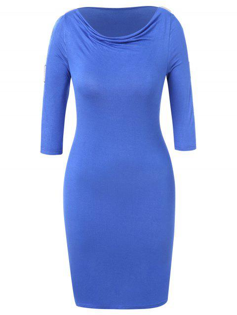Plus Size Lace Insert Sequined Bodycon Dress - BLUE 1X