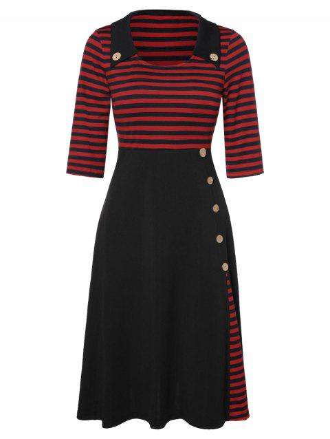 Empire Waist Stripe Panel Midi Dress - BLACK M