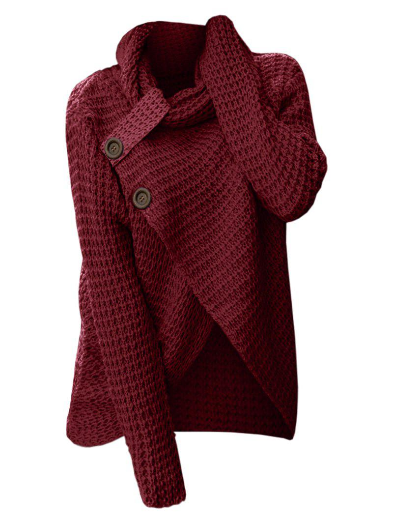 Cowl Neck Knit High Low Sweater - RED WINE XL