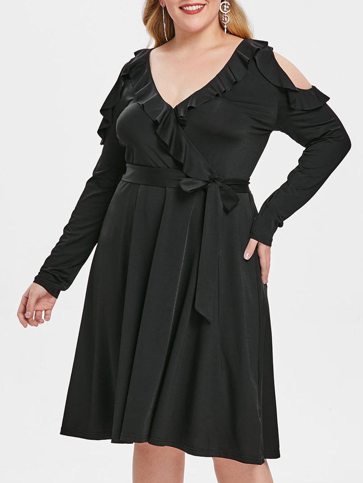 Plus Size Flounce Cold Shoulder Belted Dress