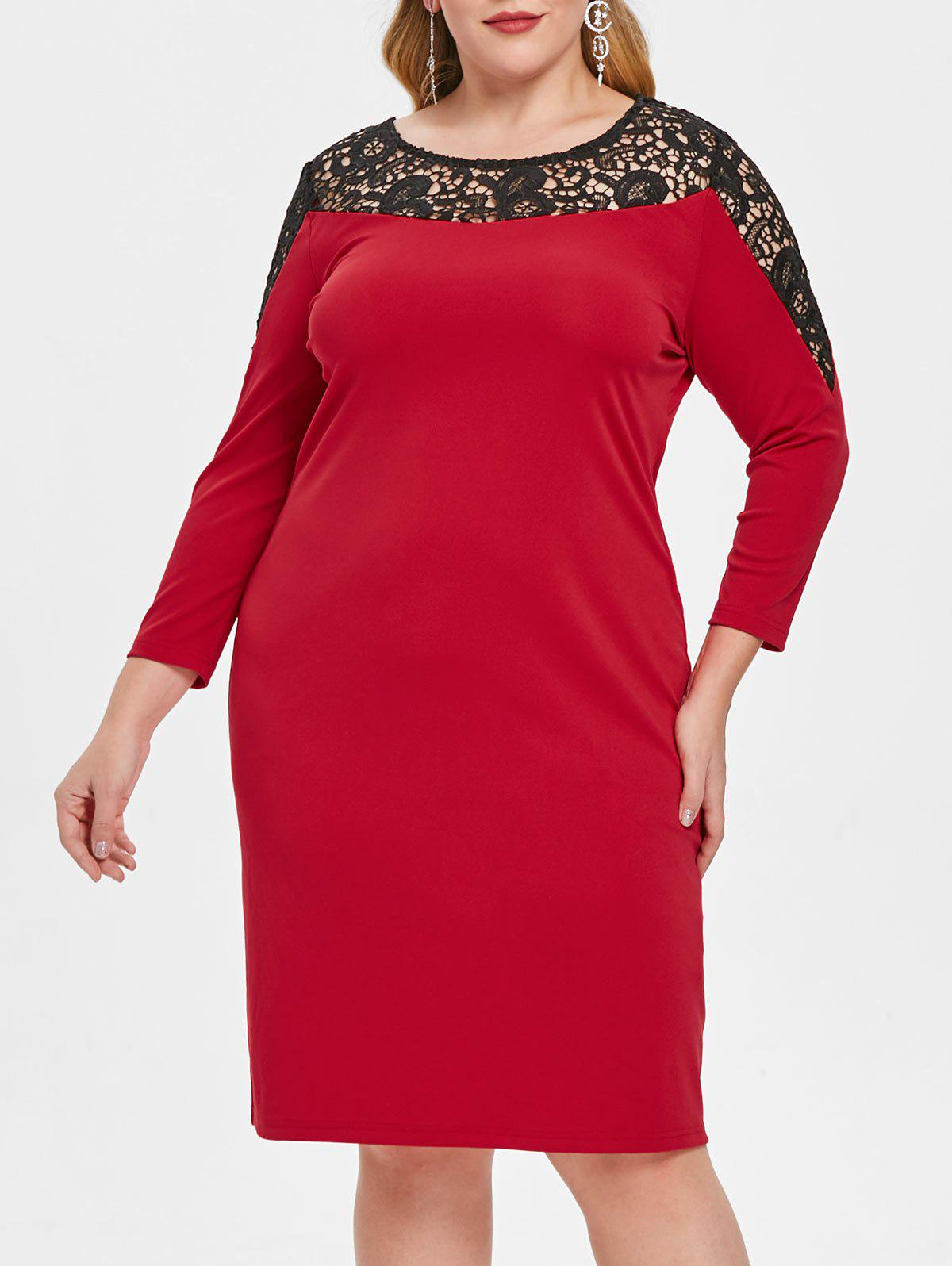 Plus Size Hollow Out Lace Insert Bodycon Dress - LAVA RED 1X