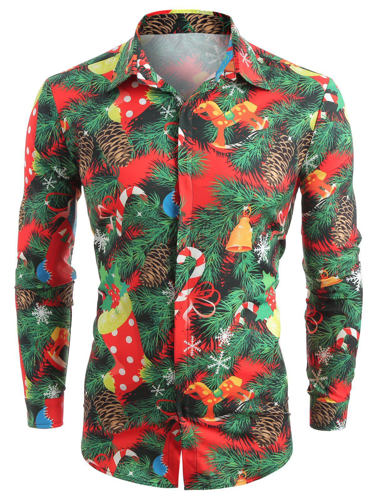 Christmas Theme Print Hidden Button Shirt - CHESTNUT RED 2XL