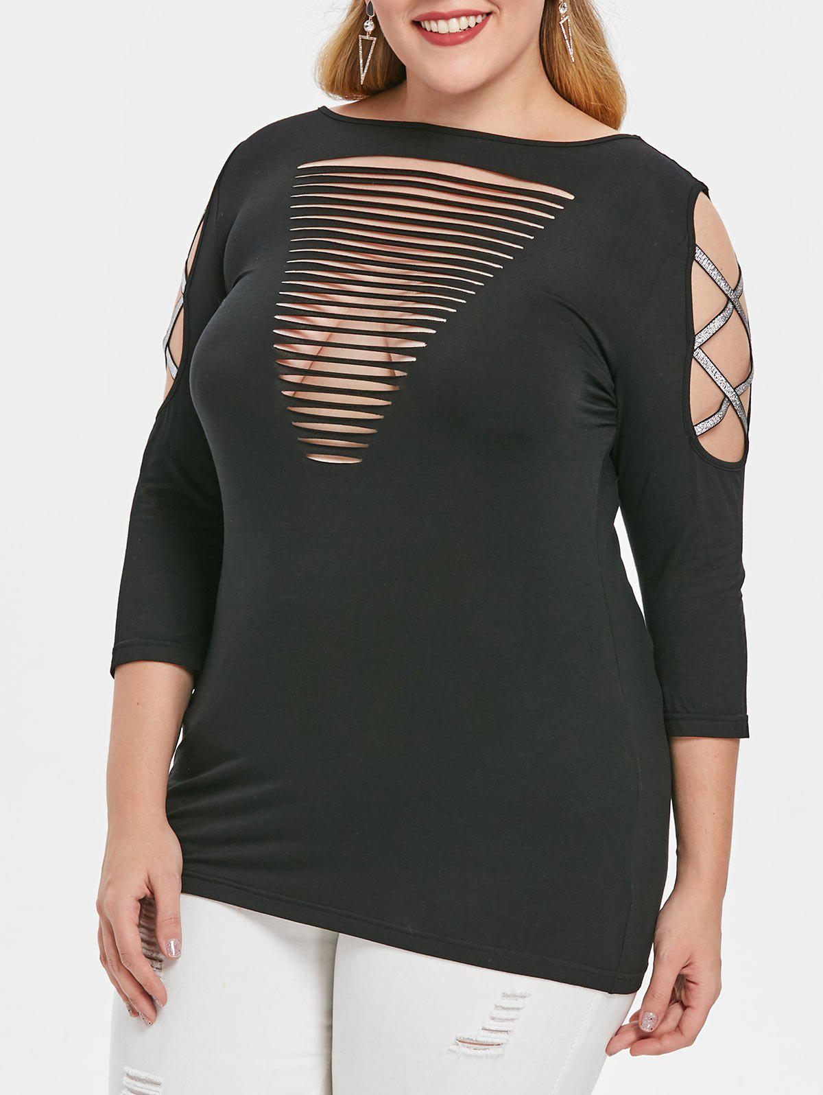 Plus Size Criss Cross Sleeve Cut Out T-shirt