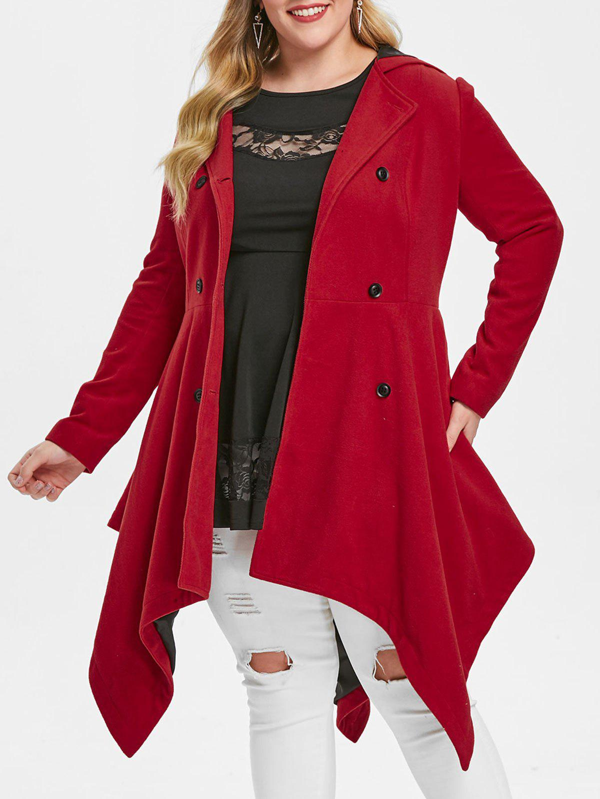 Plus Size Hooded Double Breasted Handkerchief Coat - RED L