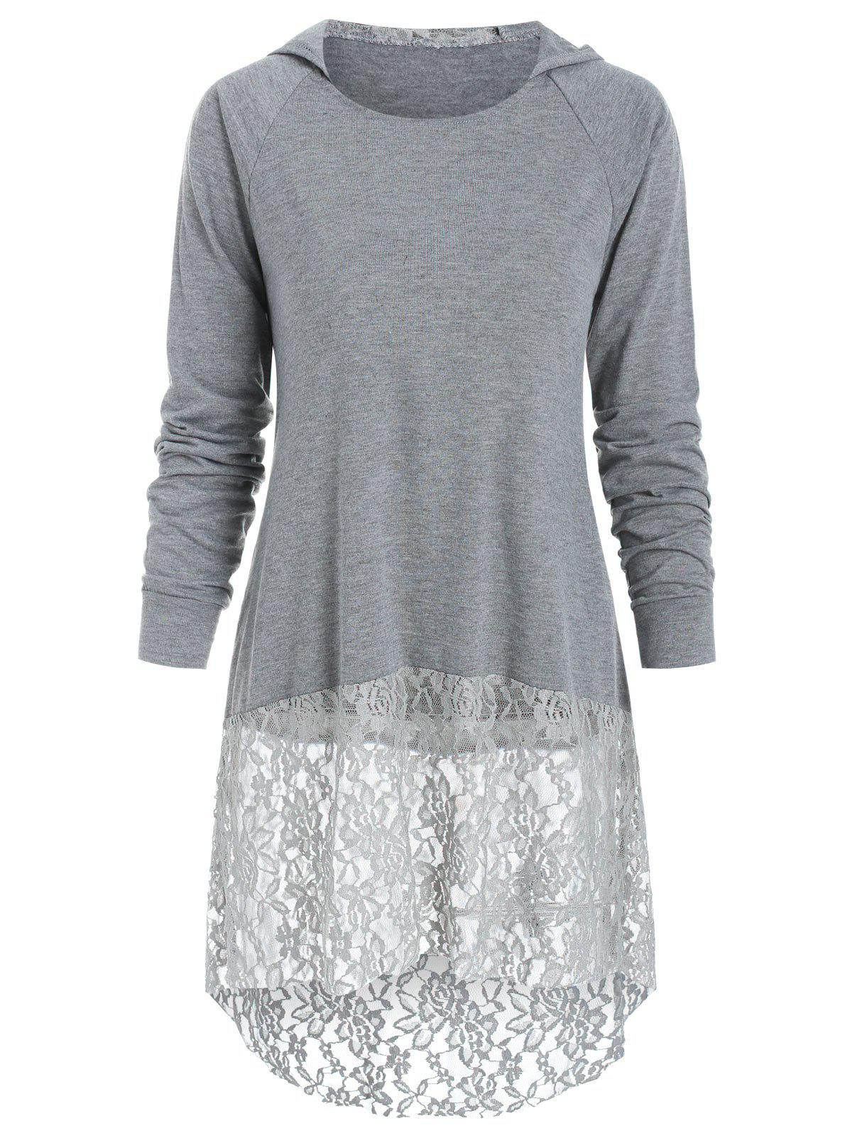Long Sleeve Lace Panel Hooded Top - GRAY CLOUD M
