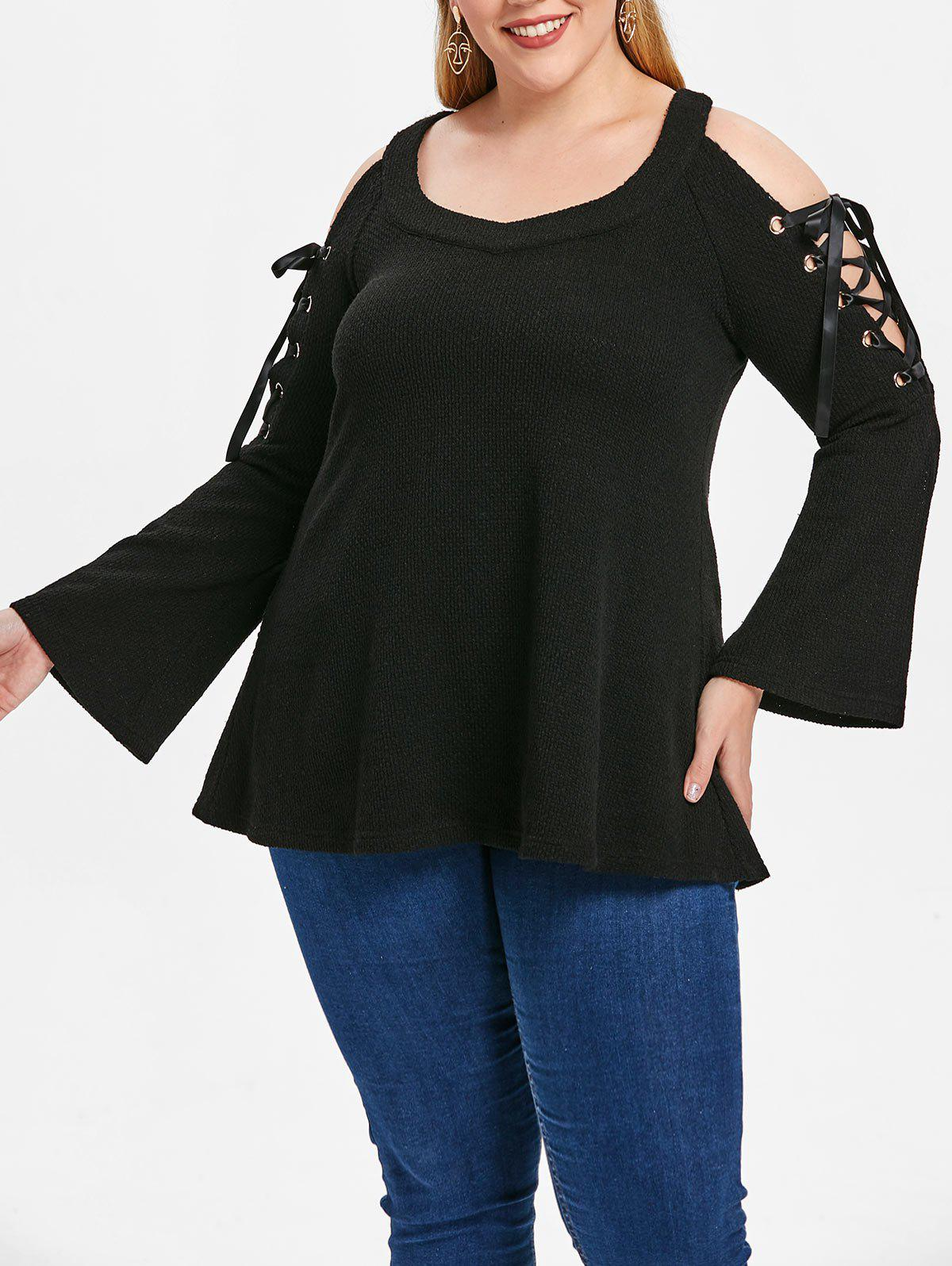 Plus Size Open Shoulder Pullover Sweater - BLACK 3X