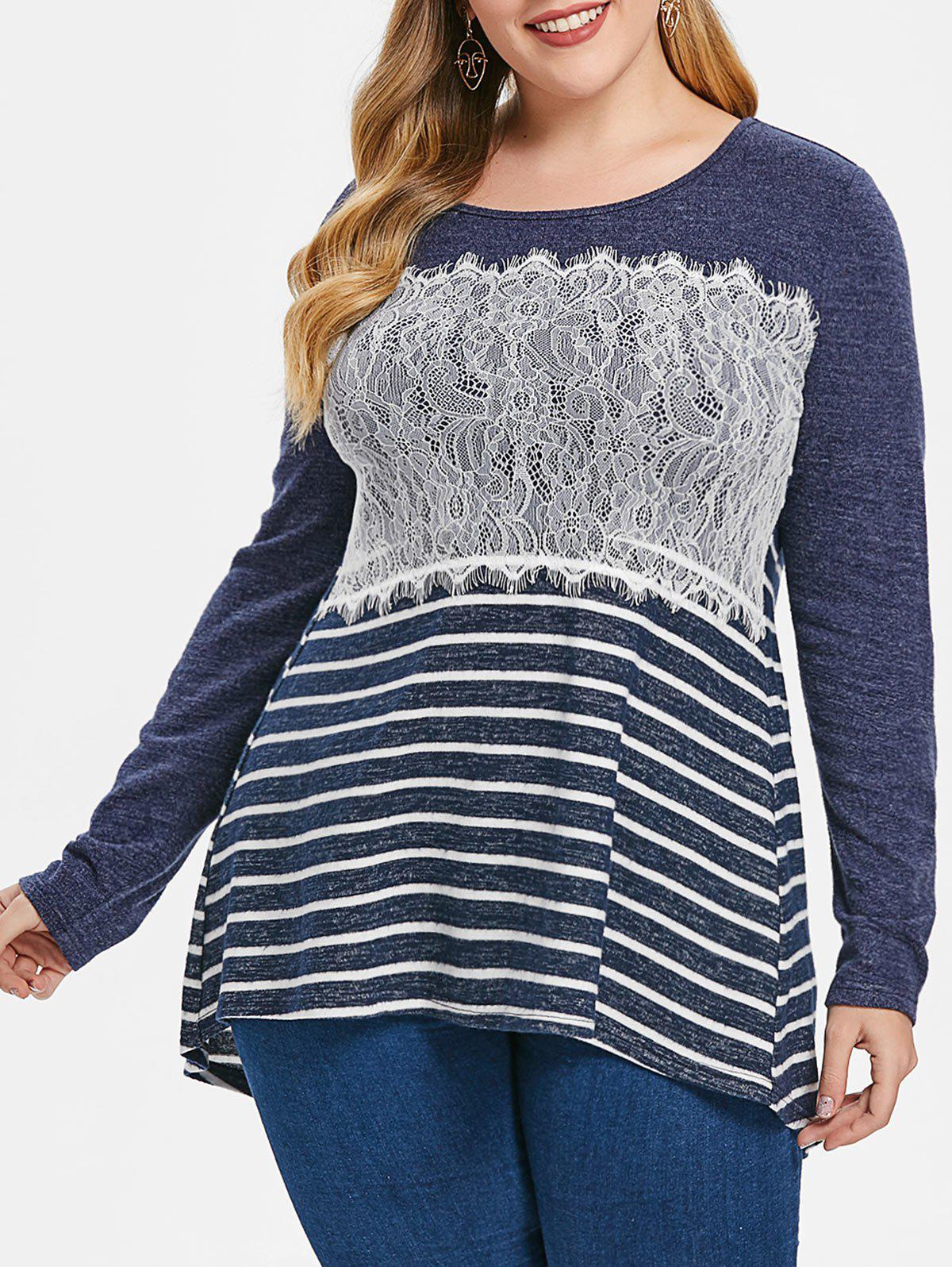 Plus Size Lace Splicing Stripe High Low Tee - DARK SLATE BLUE L