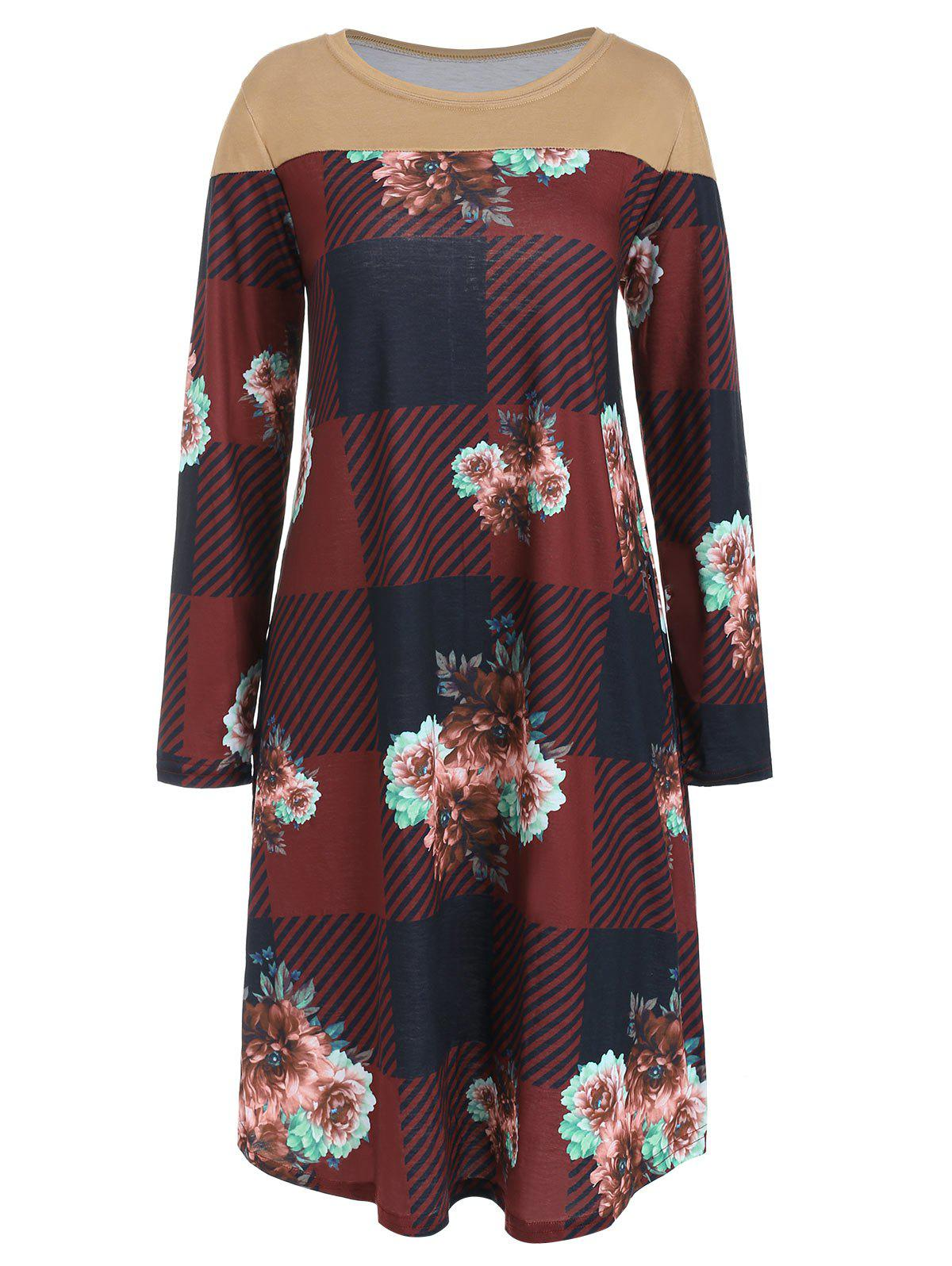 Round Neck Checked Flower Print Dress - RED WINE S
