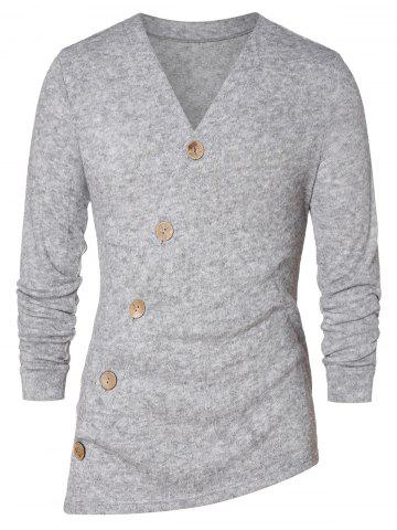 Asymmetric Button Up Solid Cardigan