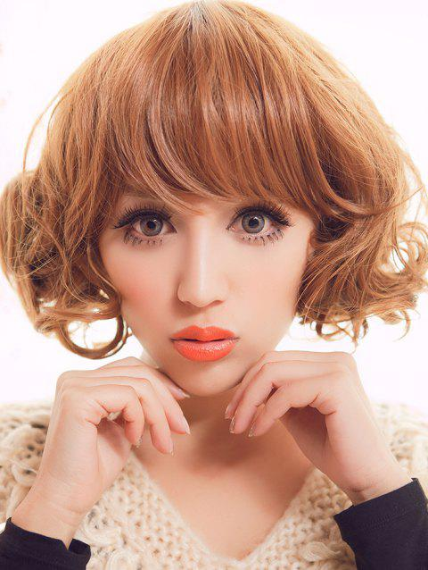 Short Full Bang Curly Party Synthetic Wig - SANDY BROWN